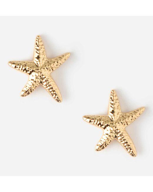 Orelia Oorbellen, Stekertjes Met Zeesterren Goudkleurig in het Metallic
