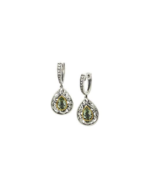 Effy - Metallic Green Amethyst, Sterling Silver And 18k Yellow Gold Drop Earrings - Lyst