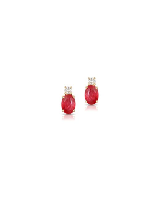 Effy - Red 14k Yellow Gold Ruby Earrings With 0.016 Tcw Diamonds - Lyst