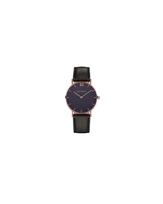 Paul Hewitt   Black Analog Blue Lagoon Rose-goldtone Leather Strap Watch for Men   Lyst