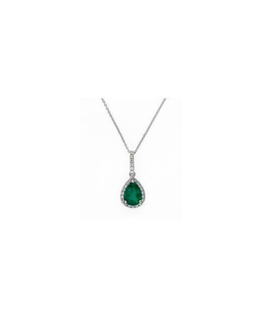 Effy   Green 14k White Gold Natural Emerald Pendant Necklace 0.12tcw Diamonds   Lyst