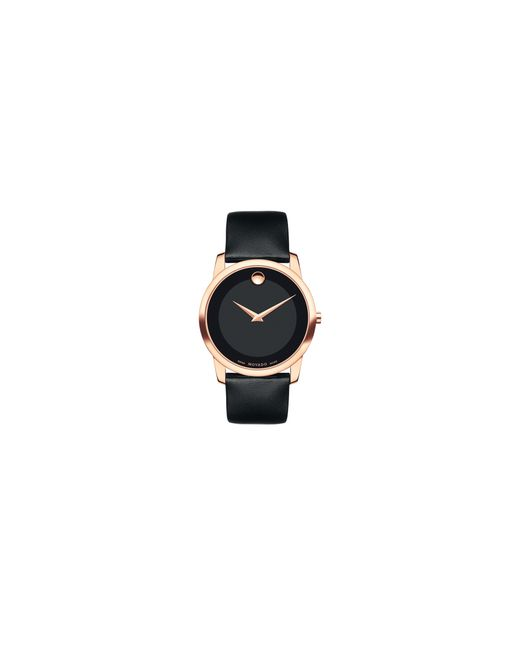 Movado | Black Bold Large Goldtone Stainless Steel Leather Strap Watch | Lyst