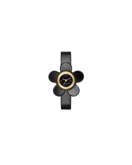 Marc Jacobs - Daisy Goldtone Stainless Steel Black Leather Strap Watch - Lyst