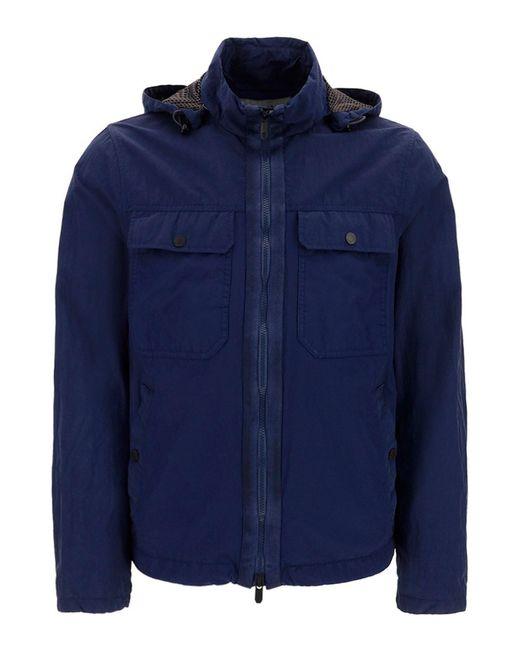 Z Zegna Blue Crêpe Effect Lightweight Jacket for men