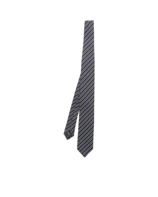 Cravatta blu con motivo a righe di Ermenegildo Zegna in Blue da Uomo