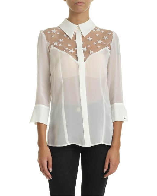 Elisabetta Franchi White Ivory Shirt With Star Embroidery