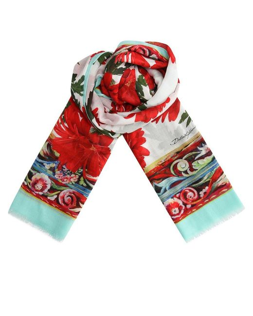 Dolce & Gabbana Red Floral Printed Scarf