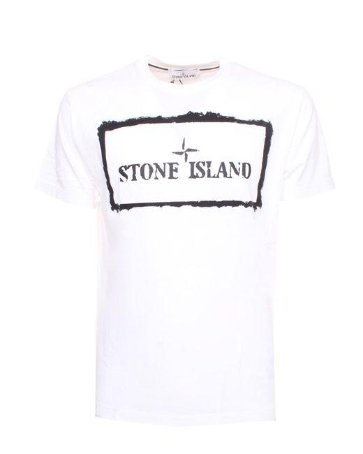 Stone Island White Logo Printed T-shirt for men