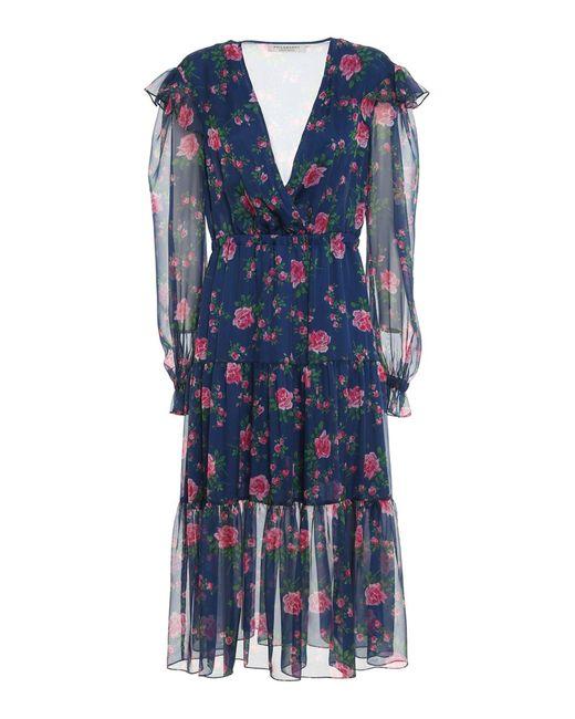 Philosophy Di Lorenzo Serafini Blue Rose Printed Chiffon Dress