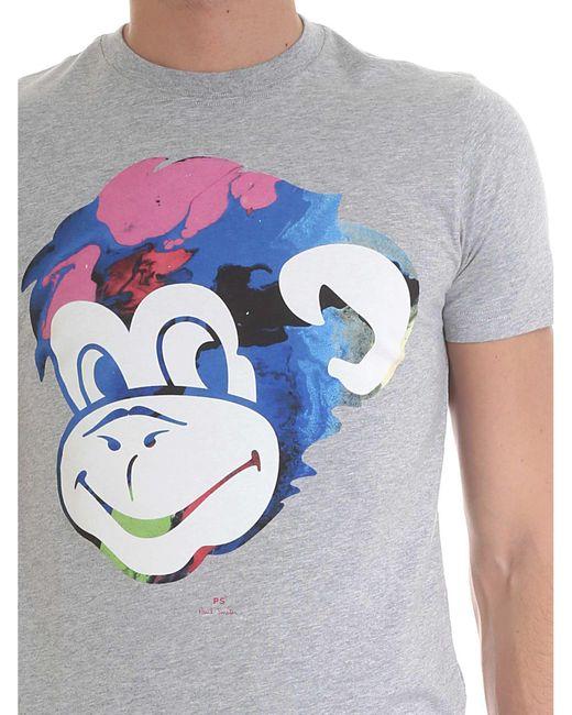 T-Shirt Grigia Con Stampa Logo di Paul Smith in Gray da Uomo