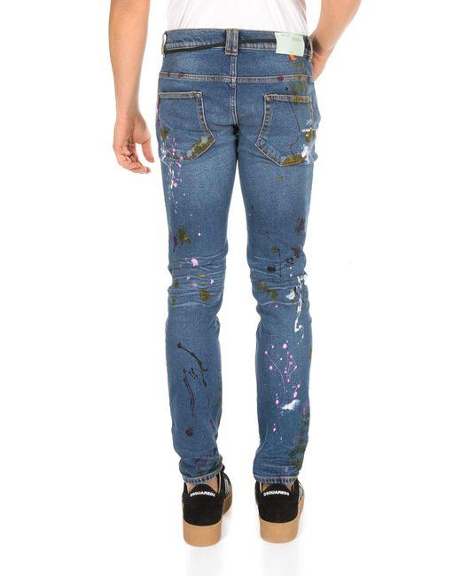 b7410bc183a ... Off-White c o Virgil Abloh - White Regular Vintage Paint Blue Skinny  Jeans ...