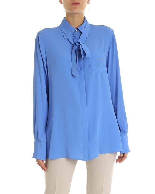 Fay Blue Turquoise Shirt With Logo Embroidery