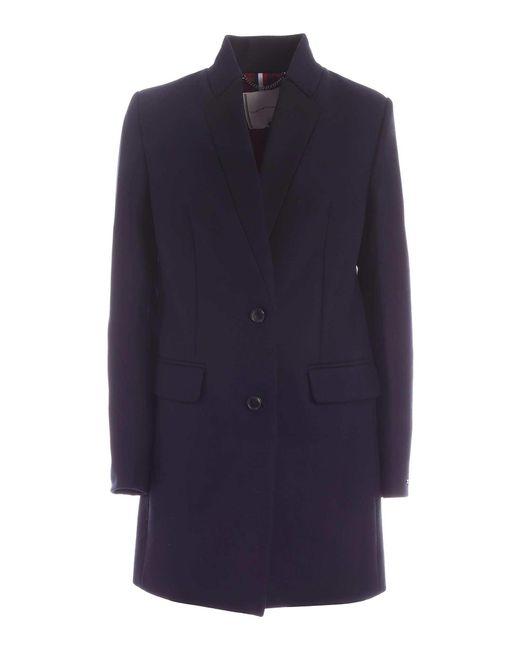 Tommy Hilfiger Blue Single-breasted Coat