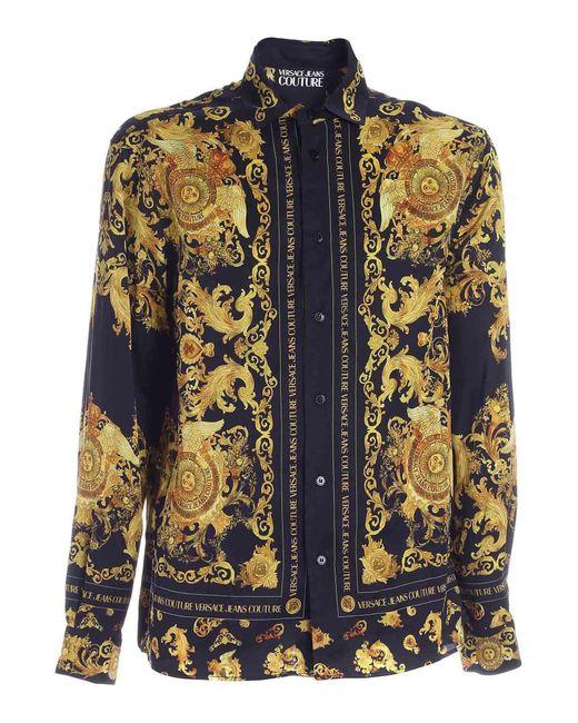 Camicia Nera Con Motivo Rococo di Versace Jeans in Black da Uomo