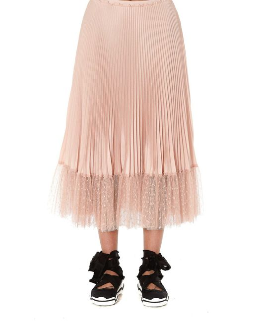 RED Valentino Natural Flounced Tulle Pleated Skirt