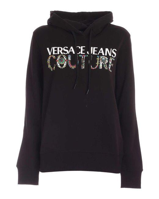 Felpa Logo Con Cappuccio Nera di Versace Jeans in Black