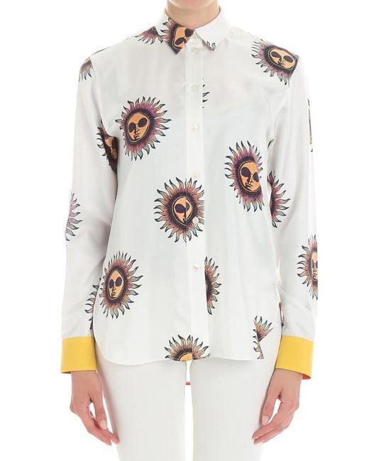 Paul Smith - White Ivory Sun Printed Shirt - Lyst