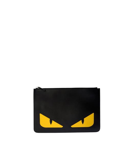 Fendi - Black Leather Pouch With Eyes Inlay - Lyst