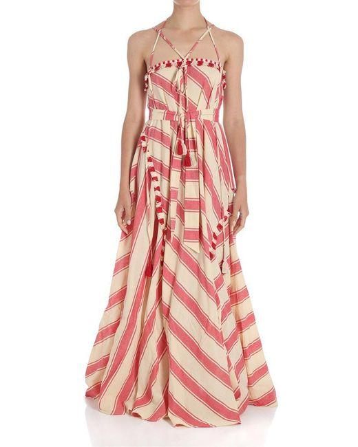Ecru and red flared striped dress Dodo Bar Or mLjmf