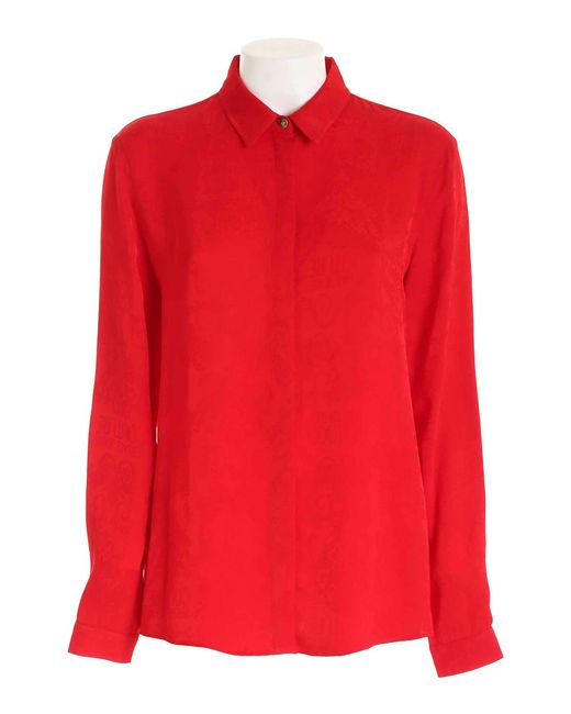 Versace Jeans Red Tone-on-tone Pattern Shirt