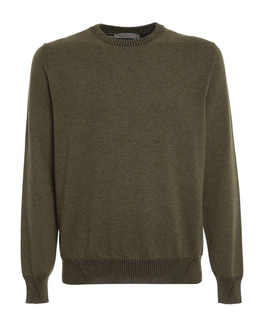 Canali Green Cotton Jumper for men