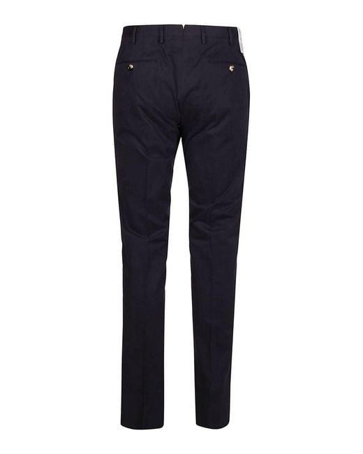 PT01 Blue Stretch Cotton-silk Blend Trousers for men