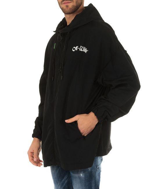 d5e9d164e659 ... Off-White c o Virgil Abloh - White Windbreaker Black Jacket With Hood  for ...