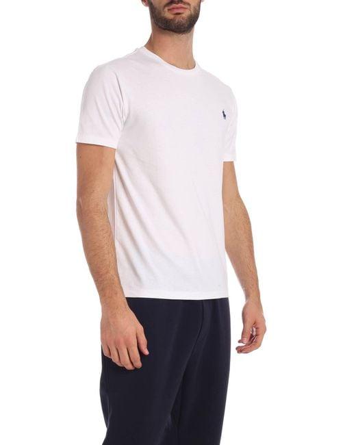 T-Shirt Bianca Con Logo Blu di Polo Ralph Lauren in White da Uomo