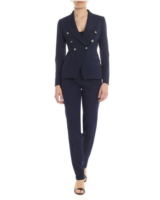 Tagliatore Alicya Double-breated Suit In Night Blue