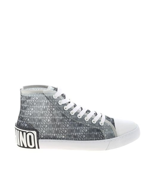 Moschino Gray Branded Mesh Sneakers for men