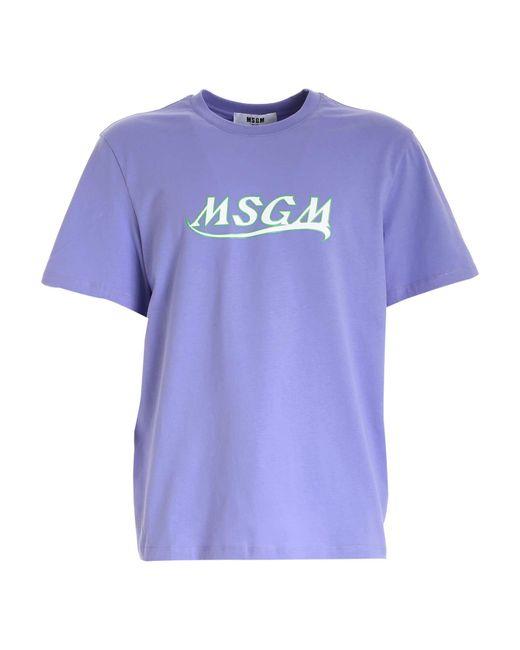 MSGM Purple Logo Print T-shirt for men