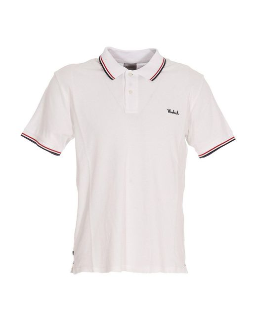 Woolrich White Embroidered Logo Polo for men