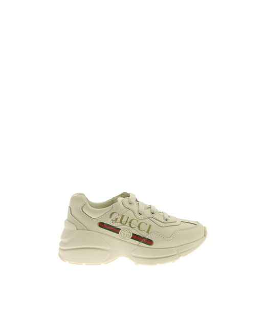 Gucci White Rhyton Logo Leather Sneakers
