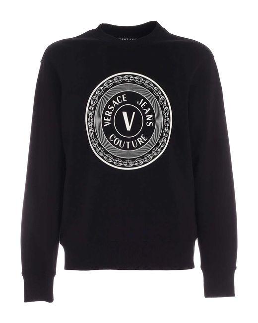 Felpa Nera Con Logo V-Emblem di Versace Jeans in Black da Uomo
