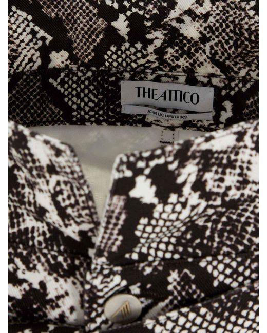 Minigonna Nera E Bianca Stampa Rettile di The Attico in Black