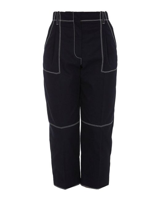 Alexander McQueen Blue Contrasting Stitching Pants
