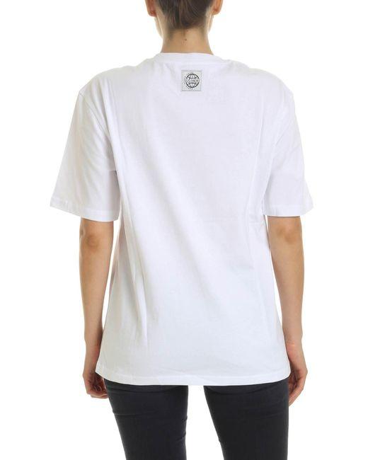 T-Shirt Earth Force Sound Bianca di McQ Alexander McQueen in White