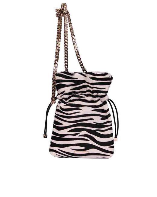 Les Petits Joueurs Black Nano Trilly Bag With Zebra Print