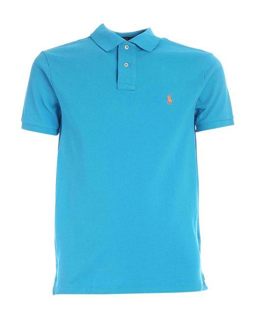 Polo Ralph Lauren Blue Logo Embroidery Polo Shirt for men