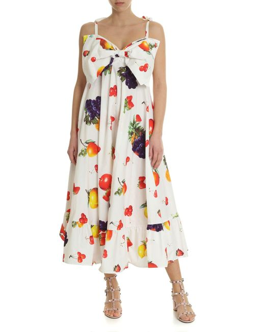 4cb51b1ea9 Women's White Dress With Fruit Print