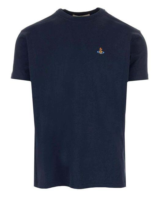 T-Shirt Blu Con Ricamo Logo di Vivienne Westwood in Blue da Uomo