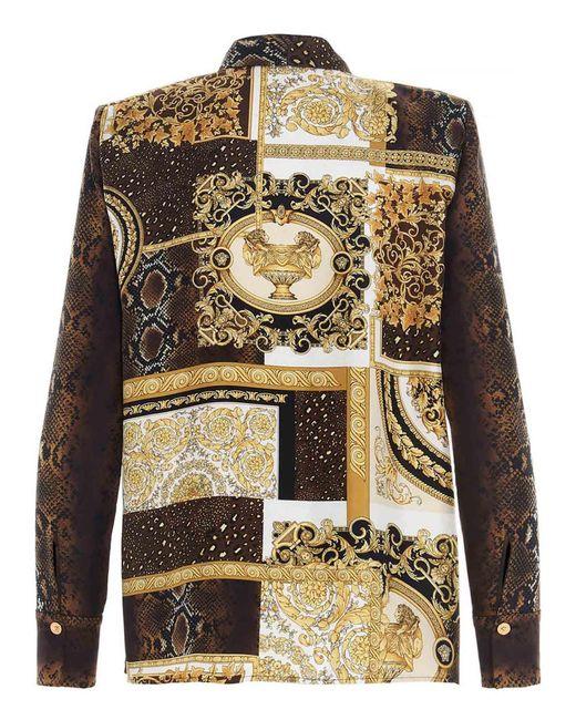 Camicia Barocco Patchwork Multicolor di Versace in Metallic