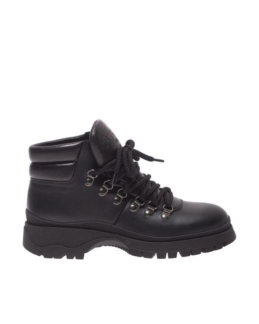 Prada Black Leather Hiking Booties