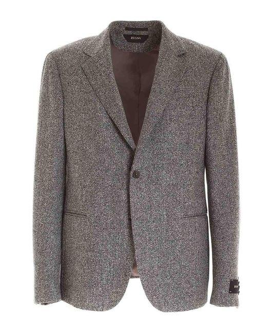 Z Zegna Gray Single-breasted Blazer for men