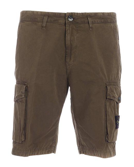 Stone Island Green Branded Cargo Bermuda Shorts for men