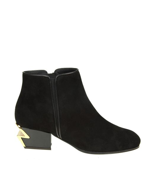 Giuseppe Zanotti - Black Suede Ankle Boots With Sculpted Heel - Lyst
