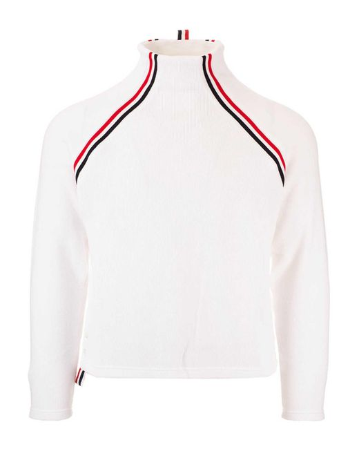 Thom Browne White Ribbed High Neck Sweater for men
