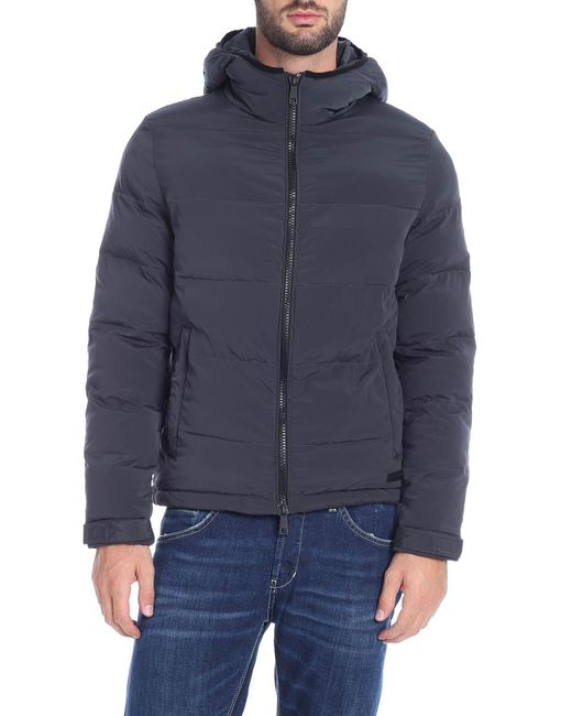 Paolo Pecora Blue Anthracite Down Jacket With Hood for men