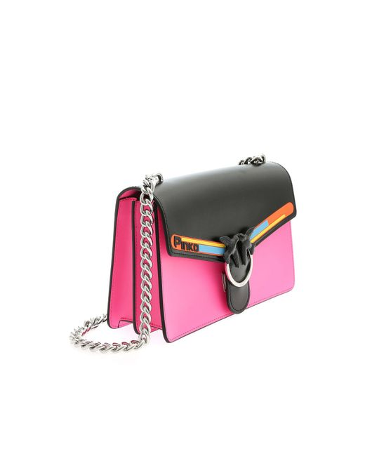 68aaf77a1e ... Pinko - Multicolor Love Sport Shoulder Bag In Fuchsia And Black - Lyst  ...