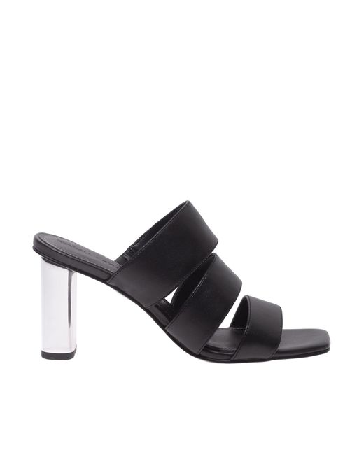 Kendall + Kylie Leila Sandals In Black With Mirrored Heels